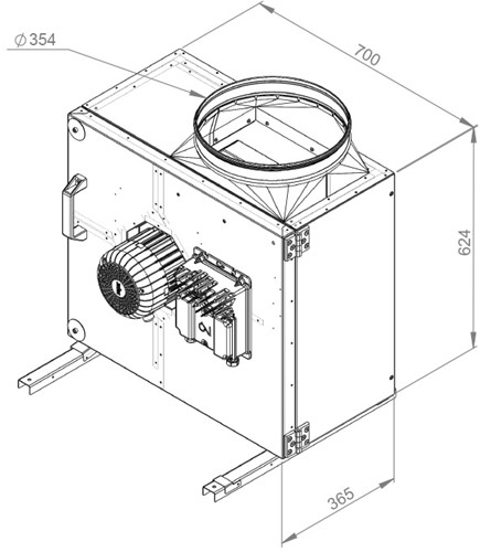 Ruck boxventilator MPS met EC motor 4885m³/h diameter 354 mm - MPS 315 EC 21-2
