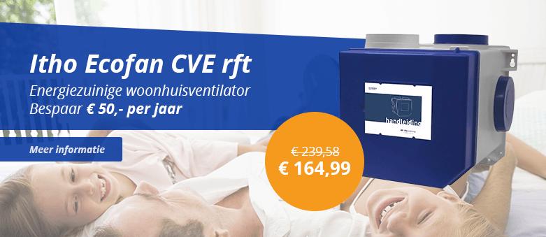 Bespaar op uw energiekosten met de zuinige Itho CVE ecofan mechanische ventilator