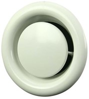 Ventilatie afvoer ventiel metaal Ø 200 mm wit met montagebus - DVS200-1