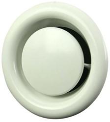 Ventilatie afvoer ventiel metaal Ø 125 mm wit met montagebus - DVS125