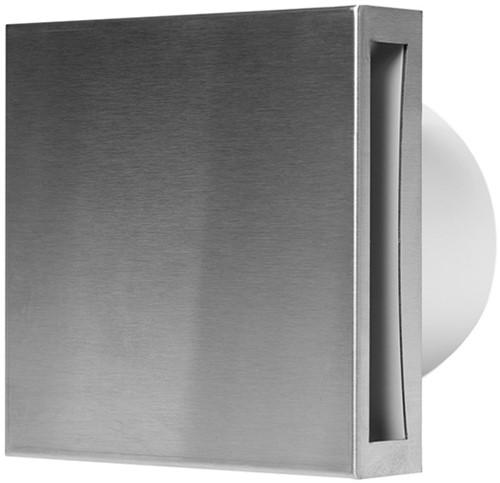 Badkamerventilator of toiletventilator diameter: 100 mm RVS Design met TIMER en VOCHTSENSOR EET100HTi