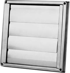 RVS gevelrooster Ø 150 mm met beweegbare lamellen (hoge doorlaat) - D5150150