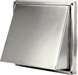 RVS gevelrooster Ø 100 mm met schuine kap en terugslagklep (hoge doorlaat) - D5G100