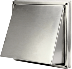 RVS gevelrooster Ø 150 mm met schuine kap en terugslagklep (hoge doorlaat) - D5G150