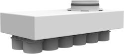 Uniflexplus hoofdverdeler met onderaansluiting 12x Ø75 mm met tuit Ø160 mm (HVBO 75 160)