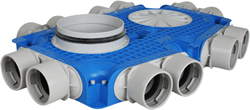 Uniflexplus ventilatie subverdeelbox 12x Ø75 mm met tuit Ø125 mm