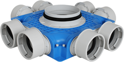 Uniflexplus ventilatie subverdeelbox 8x Ø90 mm met tuit diameter 180
