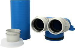 Uniflexplus ventielcollector 2x Ø75 mm met schuifhuls 250 mm en speciedeksel Ø 125mm