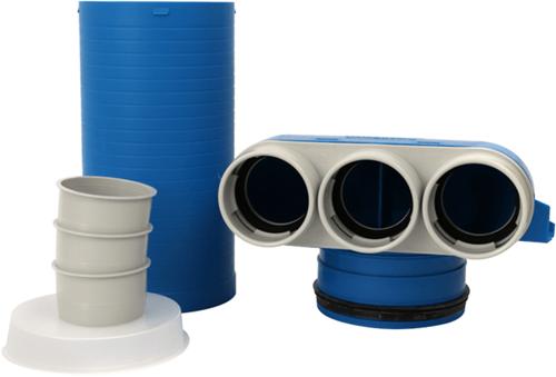 Vent-Axia Uniflexplus ventielcollector 3 x Ø 63mm met schuifhuls 250mm en speciedeksel Ø 125
