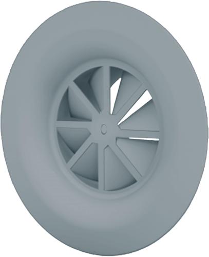 Wervelrooster met diffusorring, centrale schroefbevestiging Ø 200mm en ongeïsoleerd plenum met zijaansluiting Ø 160mm - RAL 7001   kleur
