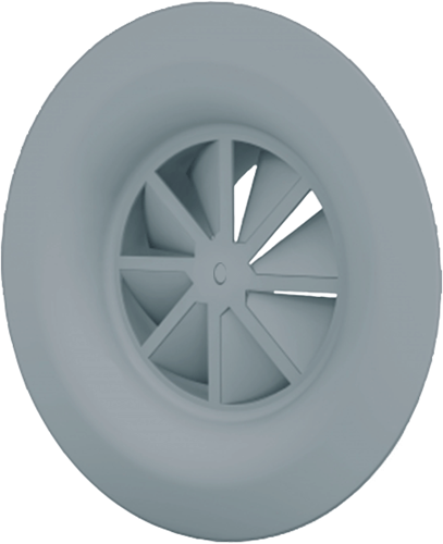 Wervelrooster met diffusorring, centrale schroefbevestiging Ø 200mm - RAL 7001   kleur (WR230-F0200-RAL7001)