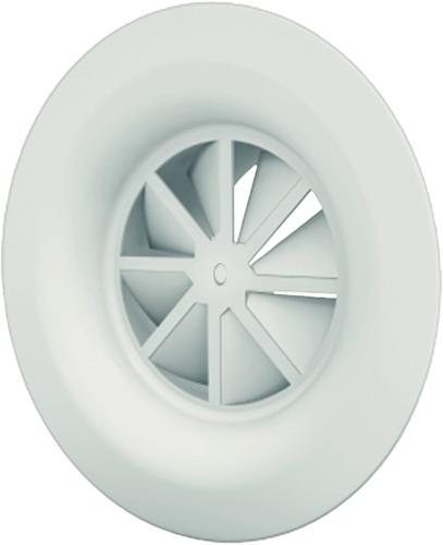Wervelrooster 160 mm met schroefbevestiging en bovenaansluiting van 125 mm - diffusorring - mengkleur RAL 9003