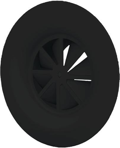 Wervelrooster 160 mm met schroefbevestiging en bovenaansluiting van 125 mm - diffusorring - mengkleur RAL 9005