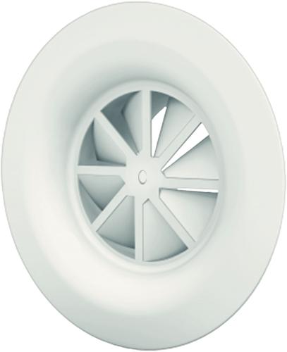 Wervelrooster 315 mm met geïsoleerd plenum, schroefbevestiging en zijaansluiting 250 mm - diffusoring - mengkleur RAL 9016