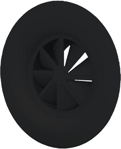 Wervelrooster 250 mm met bovenaansluiting van 200 mm - diffusorring - mengkleur RAL 9005