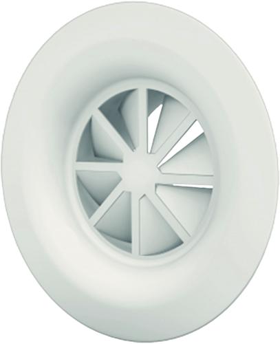 Wervelrooster 250 mm met bovenaansluiting van 200 mm - diffusorring - mengkleur RAL 9010