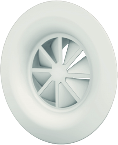 Wervelrooster 250 mm met ongeïsoleerd plenum en zijaansluiting 200 mm - diffusorring  - mengkleur RAL 9010