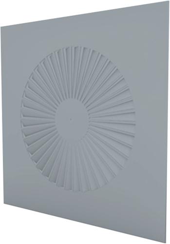 Wervelrooster vierkant 600x600 vaste schoepen 350 mm en geïsoleerd plenum met zijaansluiting 200 mm - maatwerk RAL 7001