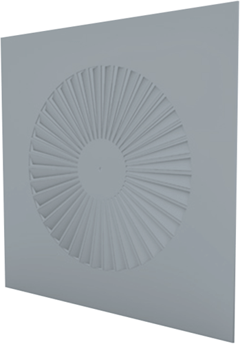 Wervelrooster vierkant 600x600 vaste schoepen 350 mm en plenum met bovenaansluiting 160 mm - maatwerk RAL 7001