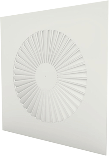 Wervelrooster vierkant 600x600 vaste schoepen 500 mm en geïsoleerd plenum met zijaansluiting 250 mm - maatwerk RAL 9003