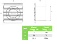 Badkamer ventilator Energiezuinig en Stil met stekker en schakelaar diameter 125 mm wit - 125PS-3