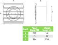 Badkamer ventilator Energiezuinig, Stil met VOCHTSENSOR en TIMER diameter 100 mm wit - 100HS-2