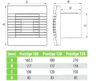 Badkamer ventilator met Automatische Sluitklep Vochtsensor en Timer 100 mm wit - Prestige 100ZGHS-2