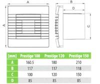 Badkamer ventilator met Automatische Sluitklep, Bewegingssensor en Timer 100 mm wit - Prestige 100ZGMS-2