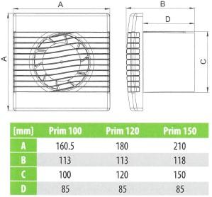 Badkamer ventilator met Vochtsensor en Timer 100 mm wit - pRim100HS ...
