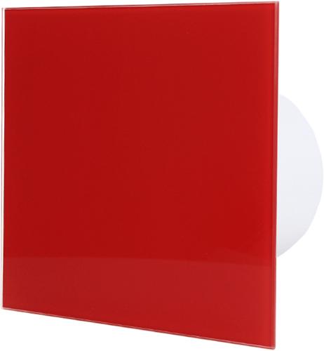 Badkamerventilator diameter 100 mm met Timer en inschakelvertraging - front rood glas
