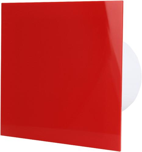Badkamerventilator diameter 125 mm met Trekkoord en Stekker - kunststof front rood