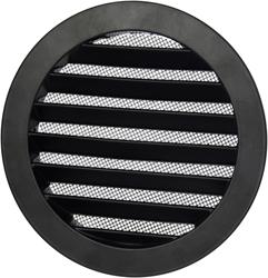 Aluminium buitenlucht muur rooster rond - Ø 80mm - ZWART