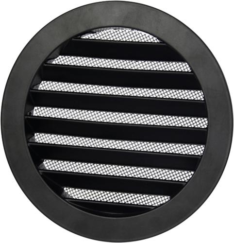 Aluminium buitenlucht muur rooster rond - Ø 80mm - ZWART (DSAV080B)