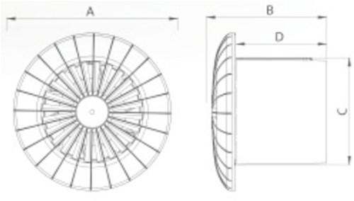 Badkamer ventilator rond diameter 150 mm wit met VOCHTSENSOR EN TIMER - 150BBHS-2