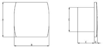 Badkamerventilator of toiletventilator diameter: 120 mm WIT Design met TIMER en VOCHTSENSOR T120HT-2