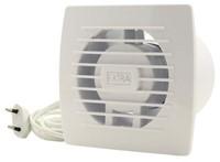 Badkamerventilator of toiletventilator diameter: 100 mm WIT voorzien van Trekkoord en stekker E100WP-1
