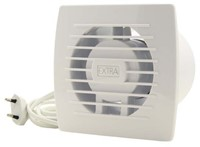Badkamerventilator of toiletventilator diameter: 100 mm WIT voorzien van Trekkoord en stekker E100WP