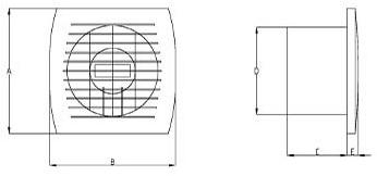 Badkamerventilator of toiletventilator diameter: 150 mm WIT met TIMER en VOCHTSENSOR E150HT-2
