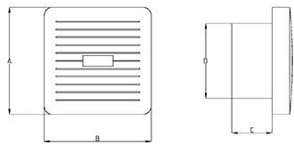 Badkamerventilator of toiletventilator diameter: 100 mm WIT Luxe met AUTOMATISCHE SLUITKLEP TIMER en VOCHTSENSOR X100ZHT-2
