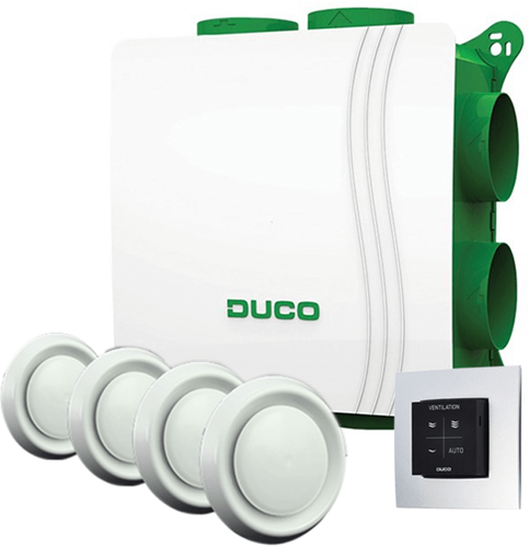 DucoBox alles-in-een pakket Silent 400 m³/h + RFT zender + 4 ventielen - randaarde stekker