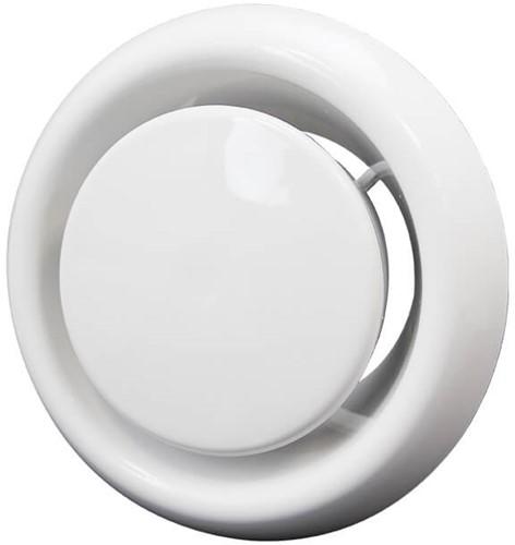 Ventilatie afvoer ventiel kunststof Ø 100 mm wit met klemveren (DVLF100)