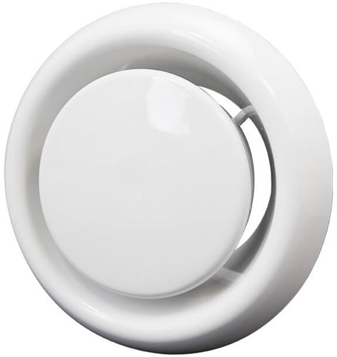 Ventilatie afvoer ventiel kunststof Ø 125 mm wit met klemveren (DVLF125)