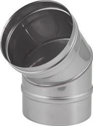 Kachelpijp Ø 200 mm RVS enkelwandige bocht 45°