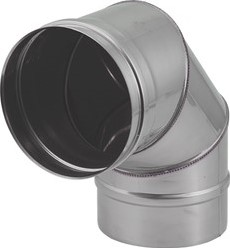 Kachelpijp Ø 150 mm RVS enkelwandige bocht 90°