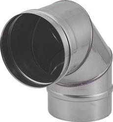 Kachelpijp Ø 400 mm RVS enkelwandige bocht 90°