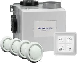 Itho Daalderop CVE-S eco fan ventilator box alles-in-1 pakket HP 415m3/h + vochtsensor + RFT auto + 4 ventielen - perilex stekker