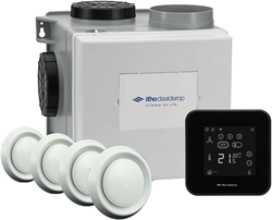 Itho Daalderop CVE-S eco fan ventilator box alles-in-1 pakket SPI 325m3/h + vochtsensor + RFT spider base + 4 ventielen - perilex stekker