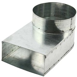 Lepe hoekstuk 165x80 - Ø125mm tbv instortkanaal