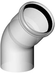 Rookgasafvoer bocht 45 graden 100 mm kunststof PP