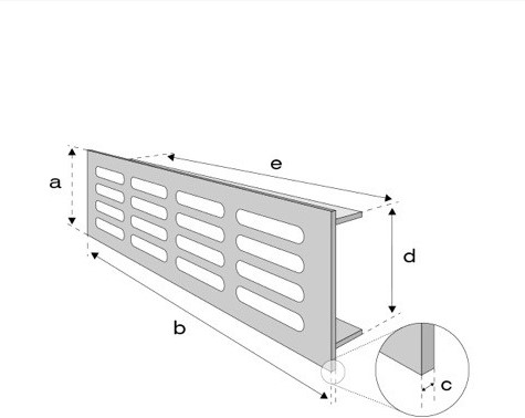 Plintrooster aluminium - goud L=1600mm x H=100mm - RA10160G-2
